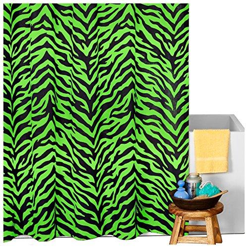 bright neon green zebra shower curtain