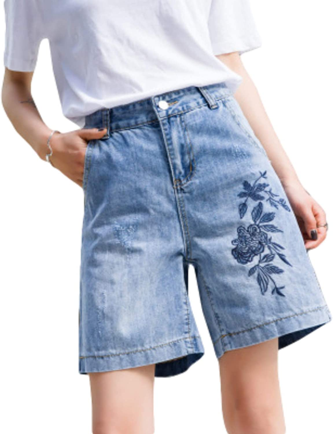 Ladies Personality Unique Embroidery NEW before selling Shorts Design Denim Summer National products