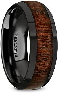 Thorsten Umbra Black Ebony Wood Inlaid Black Ceramic Ring with Beveled Edges 8mm Wide Wedding Band from Roy Rose Jewelry