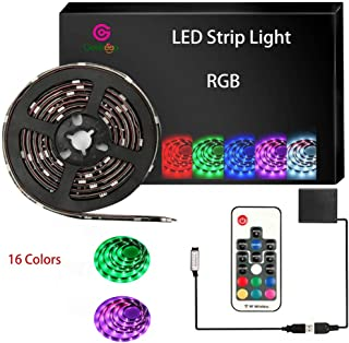 Battery Powered LED Strip Lights,5050 RGB RF Waterproof LED Tape Light Battery USB Operated 2m/6.56ft