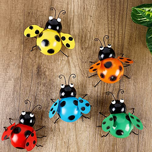 Juegoal 5 Pack Metal Wall Art Ladybugs 3D Sculpture, Colorful Ladybug Inspirational Wall Decor, Hanging Indoor & Outdoor for Garden, Home, Living Room, Patio, Office, Fences, Porches Decoration