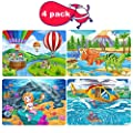 4 Pack Wooden Jigsaw Puzzles for Kids Ages 3-8 STEM Gift - 60 Pcs Preschool Educational Learning Jigsaw Toys Kindergarten Wooden Puzzles Toy for Boys and Girls (Helicopter&Balloon&Mermaid&Dinosaur)