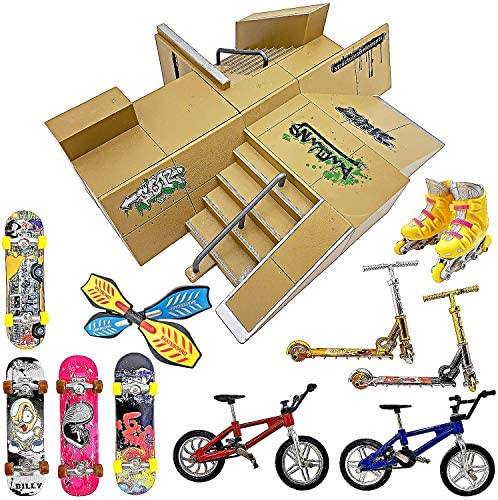 Finger Skateboard Ramp Set Finger Skateboard Finger Skatepark Kit 17 Pieces Skate Park Kit Including product image
