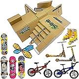 Finger Skateboard Ramp Set – Finger Skateboard – Finger Skatepark Kit 17 Pieces – Skate Park Kit Including Skateboards, Ramps, Scooters, Skates, Bikes and Caster Boards – Fingerboard Skate Set