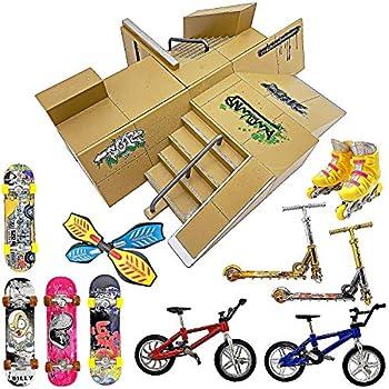 Finger Skateboard Ramp Set – Finger Skateboard – Finger Skatepark Kit 17 Pieces – Skate Park Kit Including Skateboards Ramps Scooters Skates Bikes and Caster Boards – Fingerboard Skate Set