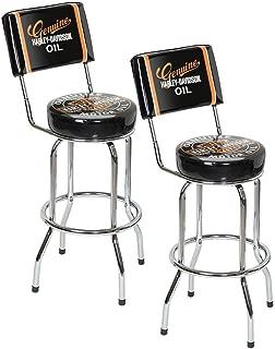 Harley-Davidson Genuine Oil Can Bar Stool w/Backrest HDL-12203 Pack of 2 Stools
