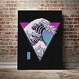YWOHP Combinación de Arte de Pared Lienzo Pintura al óleo impresión de Imagen Kanagawa Surf Ola sintética Cartel Retro Sala de Estar decoración del hogar sin marco-60x80cm_No_Frame_Nordic_LZ103