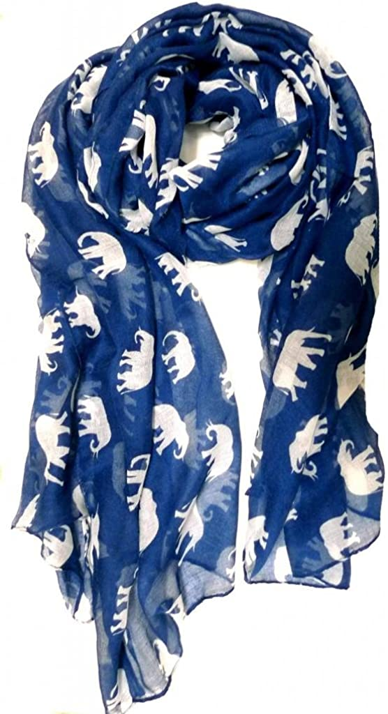 V28 Gorgeous Blue Elephant Print Long Wrap Soft Shawl sold out Scarf In a popularity -