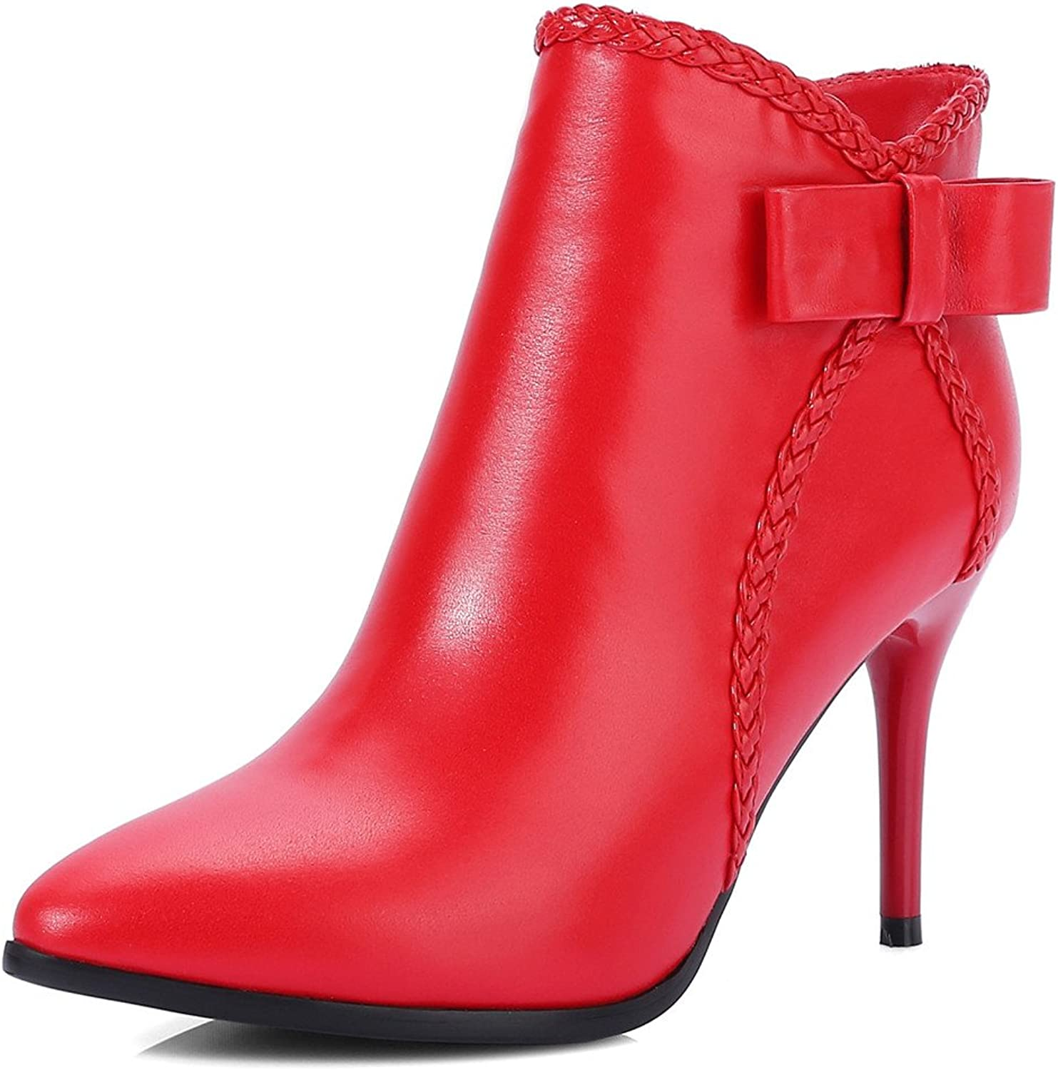Nine Seven Genuine Leather Women's Pointed Toe Stiletto Heel Handmade Fashion Ankle Booties with Bow