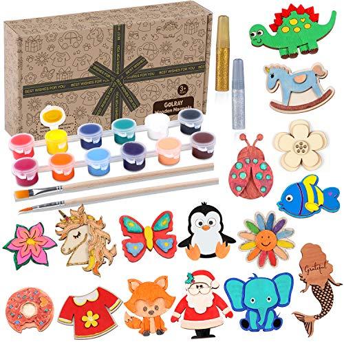 Tacobear 16pcs Imanes de Madera Manualidades Niños Mariposa Unicornio Dinosaurio Imán de refrigerador Pintar Juguete Manualidades Creativo Juguete Cumpleaños Navidad Regalo para Niños