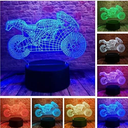 LKAIBIN Luz de noche LED 3D para motocicleta de Navidad Táctil RGB 7 colores atenuación ilusión degradado dormitorio lámparas de escritorio USB lámpara de la lámpara de los juguetes, regalo del año
