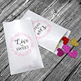 Wedding Favors Kraft Paper Bags - 50Pcs 4.5 x 7.5 inches White Wedding Gift Bags for Guests Candy Treat Bags for Treat Snacks Candy Buffets