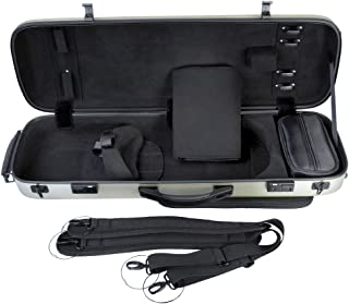 ADM Deluxe Adjustable Olong Violin Hard Case, 4/4 Size, Champagne