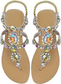 Hinyyrin Women's Rhinestone Flat Sandals, Dresses Beach Bridal Wedding Shoes, Bohemian Crystal Sandals, Gemstone Flip Flops