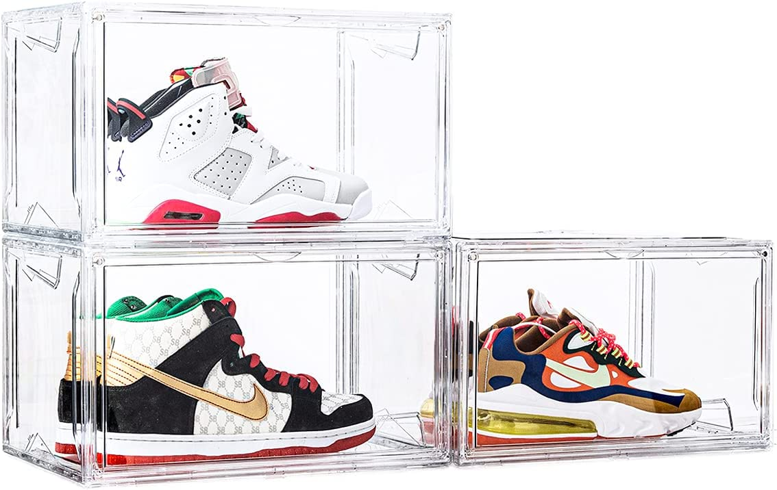 Shoe Storage online shop Box 3 Pack Boxes Long Beach Mall with Clear Stackable