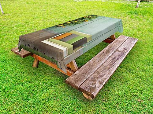 ABAKUHAUS Tuin Tafelkleed voor Buitengebruik, Houten schommel in de tuin, Decoratief Wasbaar Tafelkleed voor Picknicktafel, 58 x 104 cm, Geel groen