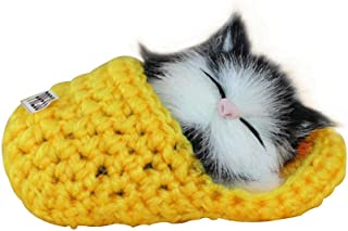FOONEE Mini Kawaii Gato Sounders Juguete, Dormir Zapatillas Gatos Muñeca Mascotas Simulación Gato Gato Peluche para Decoración del Hogar Adornos Niños Regalo