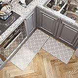 Alfombras Cocina de PVC, Alfombras Impermeables y Resistentes al Aceite, Adecuadas para Cocina, Sala de Estar y Dormitorio 2 Piezas, 45x75cm + 45x120cm,Gris