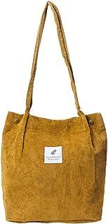 JAGENIE Damen Kord-Handtasche Schultertasche Tote Geldbörse Casual Einkaufstasche, gelb, App. 37.5x40cm/14.76x15.74
