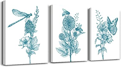 Blue abstract plants flowers Canvas Prints Wall Art Paintings for Living Room Bedroom Decoration, 3 Panels Home bathroom Wall decor posters Sunflowers butterflies Home Decorations Artworks Pictures