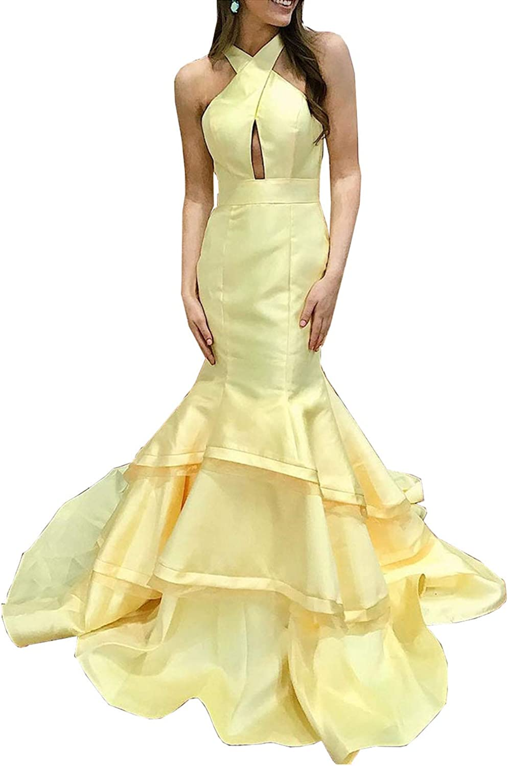 Scarisee Womens Mermaid Halter Evening Dresses Tiers Formal Prom Party Gowns KeyholeSA128