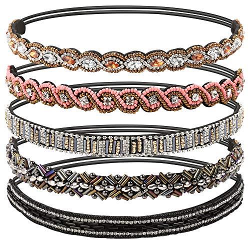 "Teenitor 5pcs Jeweled Headband, Handmade Elastic Headbands for Women, 20-26.8"" Fits for Most"