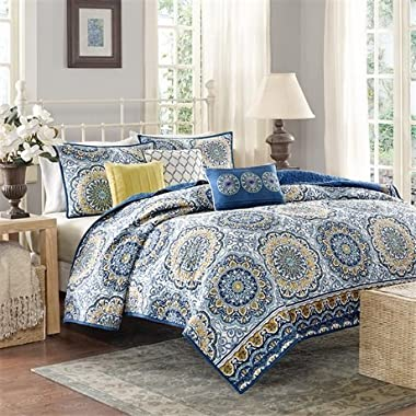 Madison Park Tangiers Full/Queen Size Quilt Bedding Set - Blue Yellow, Medallion – 6 Piece Bedding Quilt Coverlets – Ultra Soft Microfiber Bed Quilts Quilted Coverlet