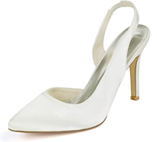 0608-29 Women Bridal Shoes Pointy Toe High Heels Slingback Sandals Satin Wedding Party Court Shoes