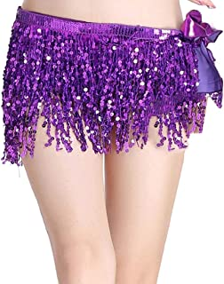 Xswsy XG Women's Lively-Style Belly-Dance Hip-Scarf Bead Coins-Wrap Skirt-Belts