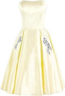 Libaosha Women's Short Homecoming Dresses Rhinestones Beaded Pocket Cocktail Party Gowns