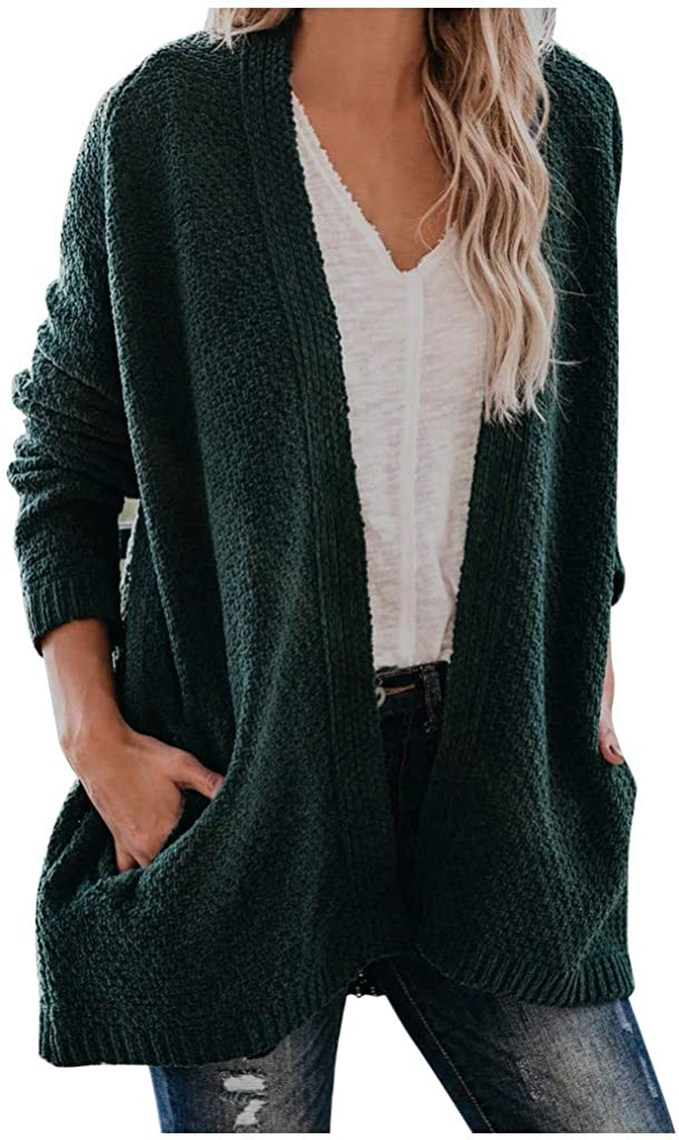 Women's Open Front Long Sleeve Loose Max 54% OFF Chunky Sweaters Bl Cardigan List price
