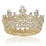 Gold Queen Crowns for Women, Crystal Girls Tiara Birthday Crown and Tiaras for Women Wedding Prom Birthday Party Valentines Costume