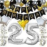 """KUNGYO Clásico Decoración de Cumpleaños -""""Happy Birthday"""" Bandera Negro;Número 25 Globo;Balloon de Látex&Estrella, Colgando Remolinos Partido para el Cumpleaños de 25 Años"""