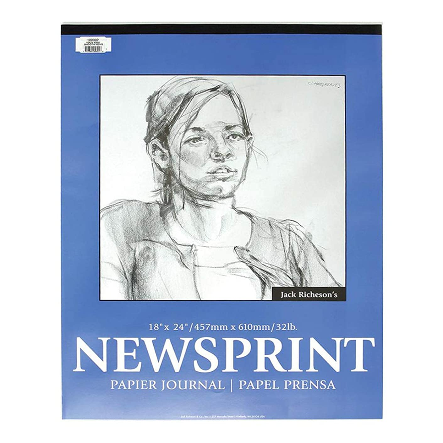Jack Richeson Newsprint Pad, 32 lbs, 18 x 24 Inches, 100 Sheets