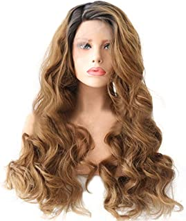 Hairpieces Hairpieces Fashian Fiber Front Lace Wig Mixed Color Brown Big Wave Half Hand Hook Half Mechanism Wig for Daily Use and Party (Color : Photo Color, Size : 18 inches)
