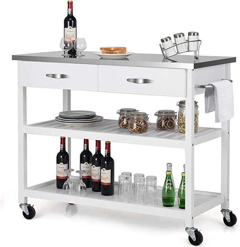 Giantex Kitchen Trolley Cart Rolling Island Cart Serving Cart Large Storage With Stainless Steel Countertop Lockable Wheels 2 Drawers And Shelf Utility Cart For Home And Restaurant White
