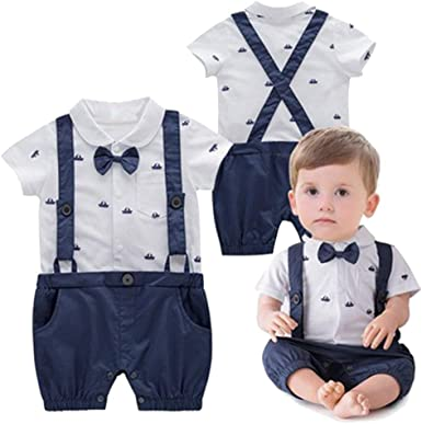 Minetom Bebés Trajes De Bautizo Camisa Bow Tie Tirantes Shorts Correa Niños Formales Fiesta Outfit Gentleman Mameluco Monos Sets 0-24 Mes