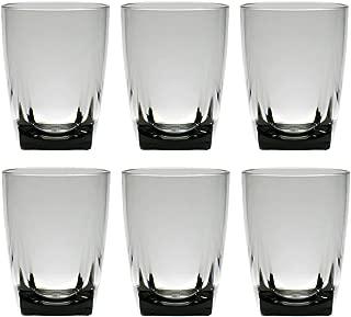 QG 16 oz Clear Smoke Grey Acrylic Plastic Wine Glass Cup Square Base Tumbler Set of 6