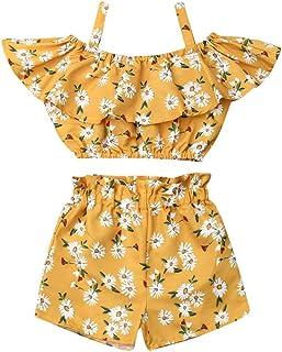 Geagodelia Ensemble vêtements pour bébé fille, débardeur / haut sans manches et short, au motif de fleurs, pour l'été