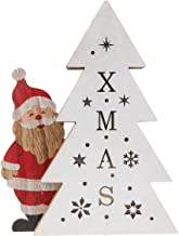 TOYMYTOY Lighted Christmas Tree Tabletop Wooden Santa Christmas Night Light Holiday Table Centerpieces Ornament for Christ...