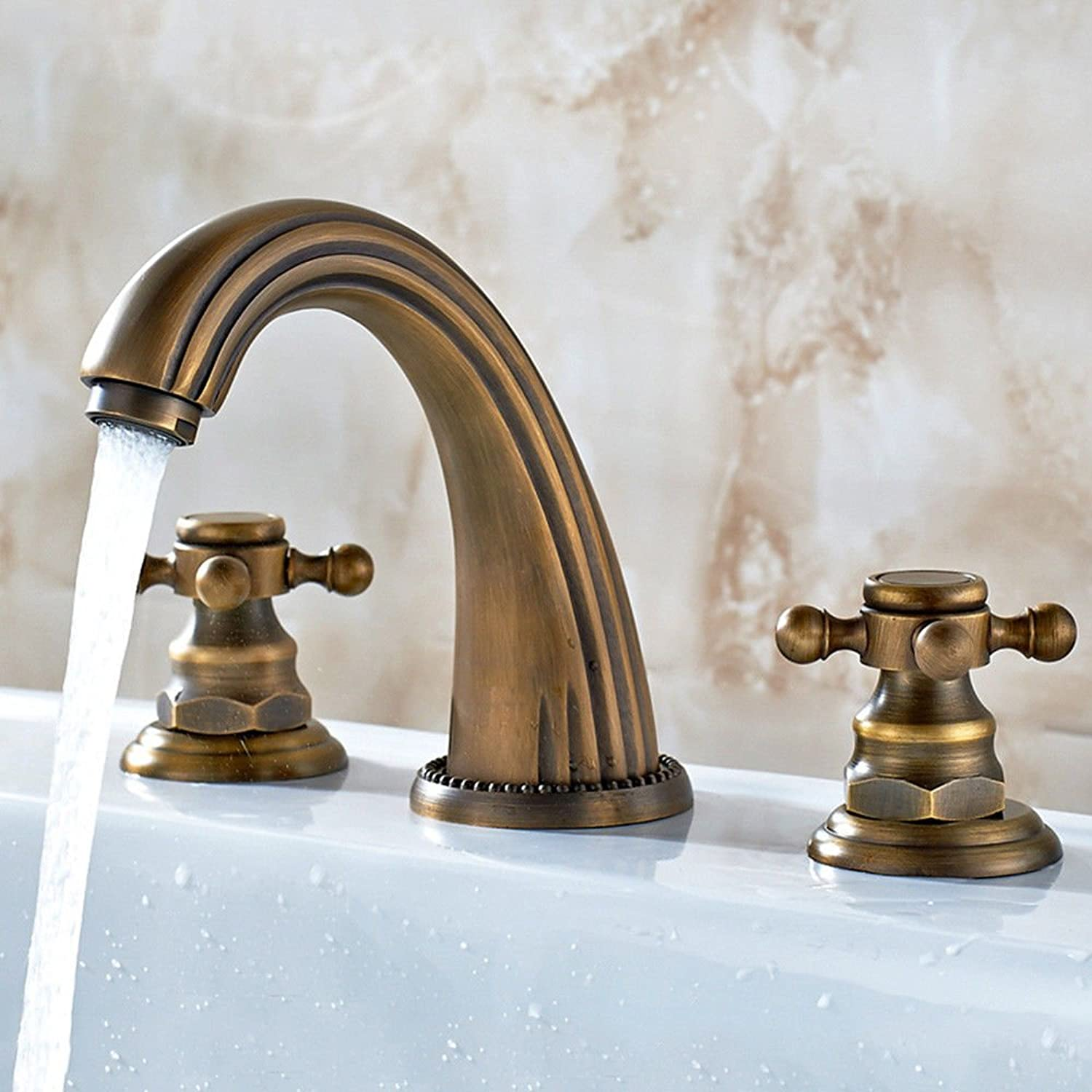 Lpophy Bathroom Sink Mixer Taps Faucet Bath Waterfall Cold and Hot Water Tap for Washroom Bathroom and Kitchen Copper Hot and Cold Split Antique Cross Three Holes A