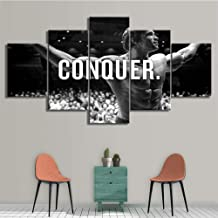 Artwork Conquer Art Poster Bodybuilding Motivational Quote 5 Panel Canvas Prints Painting Wall Art Home Decor
