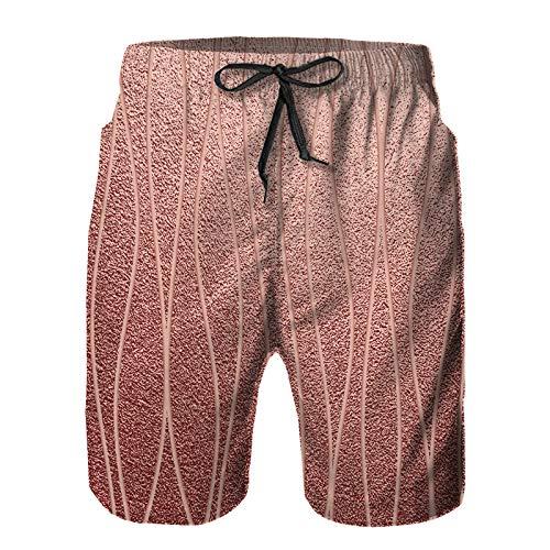 Aerokarbon Hombres Playa Bañador Shorts,Textura Metalizada Brillante Metal Cuarzo Rosa,Traje de baño con Forro de Malla de Secado rápido L