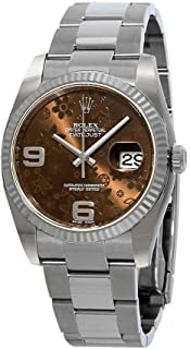 Rolex Datejust Automatic Brown Floral 18 kt White Gold Bezel Oyster Bracelet Ladies Watch 116234