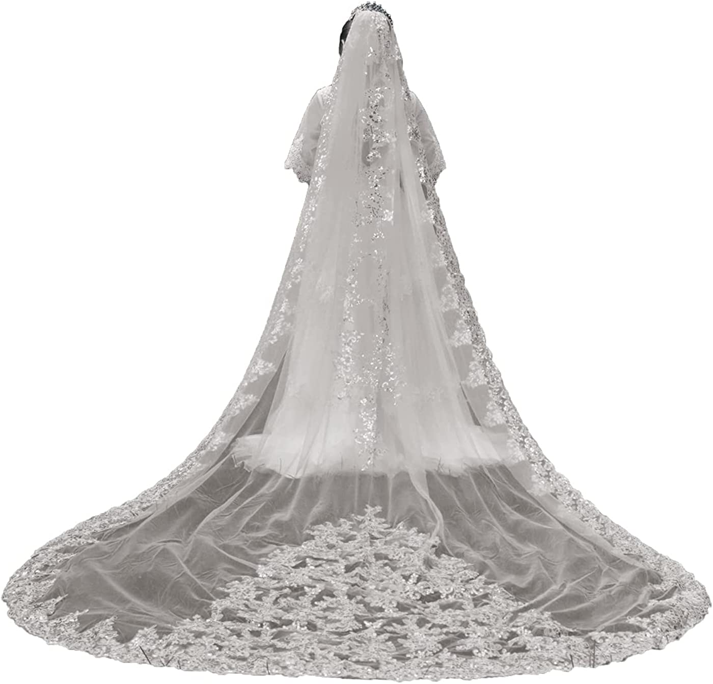 Weddings Veils 1 Tier Sequins Egde Long Lace Full Floral Cathedral with Comb