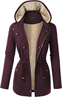LE3NO Womens Sherpa Lined Anorak Jacket with Detachable Faux Fur Hood