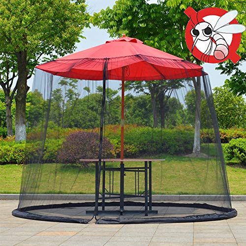 Patio Umbrella Mosquito Nets,Polyester Mesh,with Zipper Door and Adjustable Rope,Fits 8-10FT Umbrellas and Patio Tables