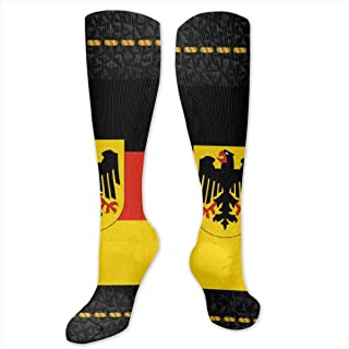 Knee High Socks Germany Flag with Coat of Arms Compression Socks Sports Athletic Socks Tube Stockings Long Socks Funny Personalized Gift Socks for Men Women