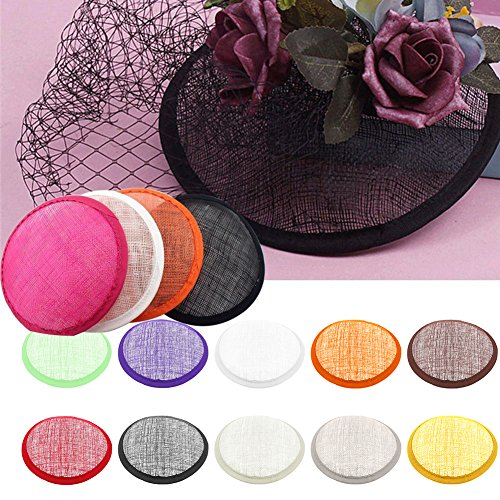 Jiecikou Fascinators Hat Base 20s 50s Hat Pillbox Hat Cocktail Tea Party Headwear Sinamay Hat Round Base Black