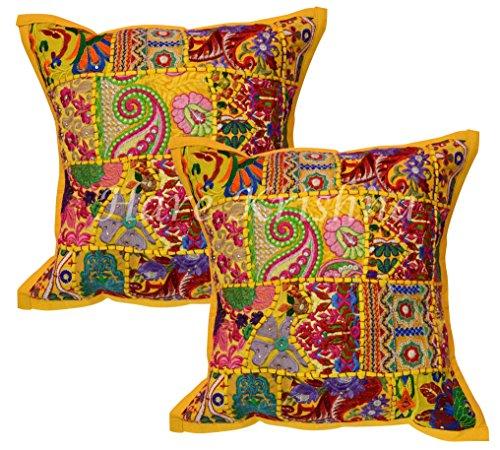 Hare Krishna Housse de Coussin de Noël en Coton Patchwork brodé Indien Jette Ethnique canapé Oreiller Casess Set (Jaune) 46 x 46 Cm